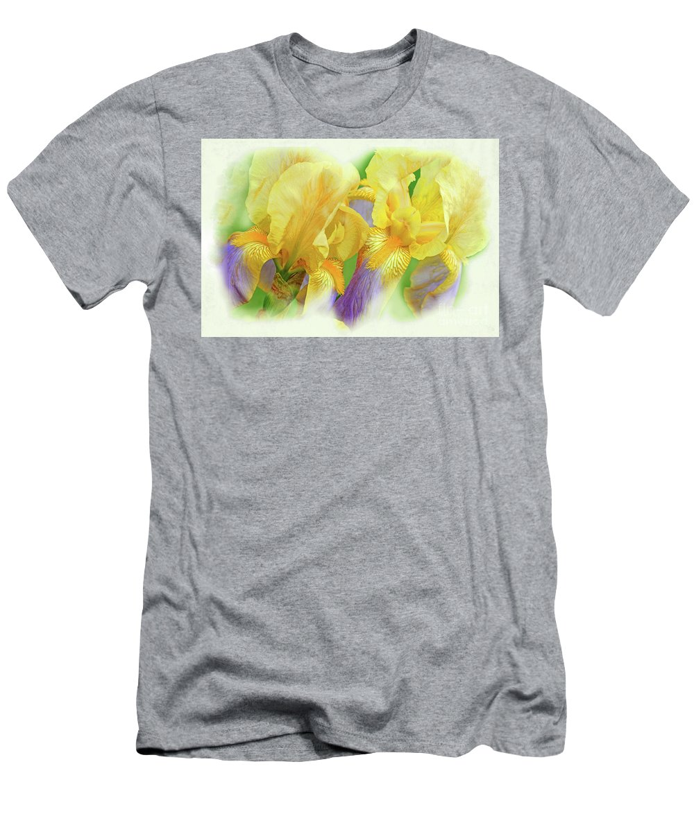 Iris Flowers Men's T-Shirt (Athletic Fit) featuring the photograph Amenti Yellow Iris Flowers by Regina Geoghan