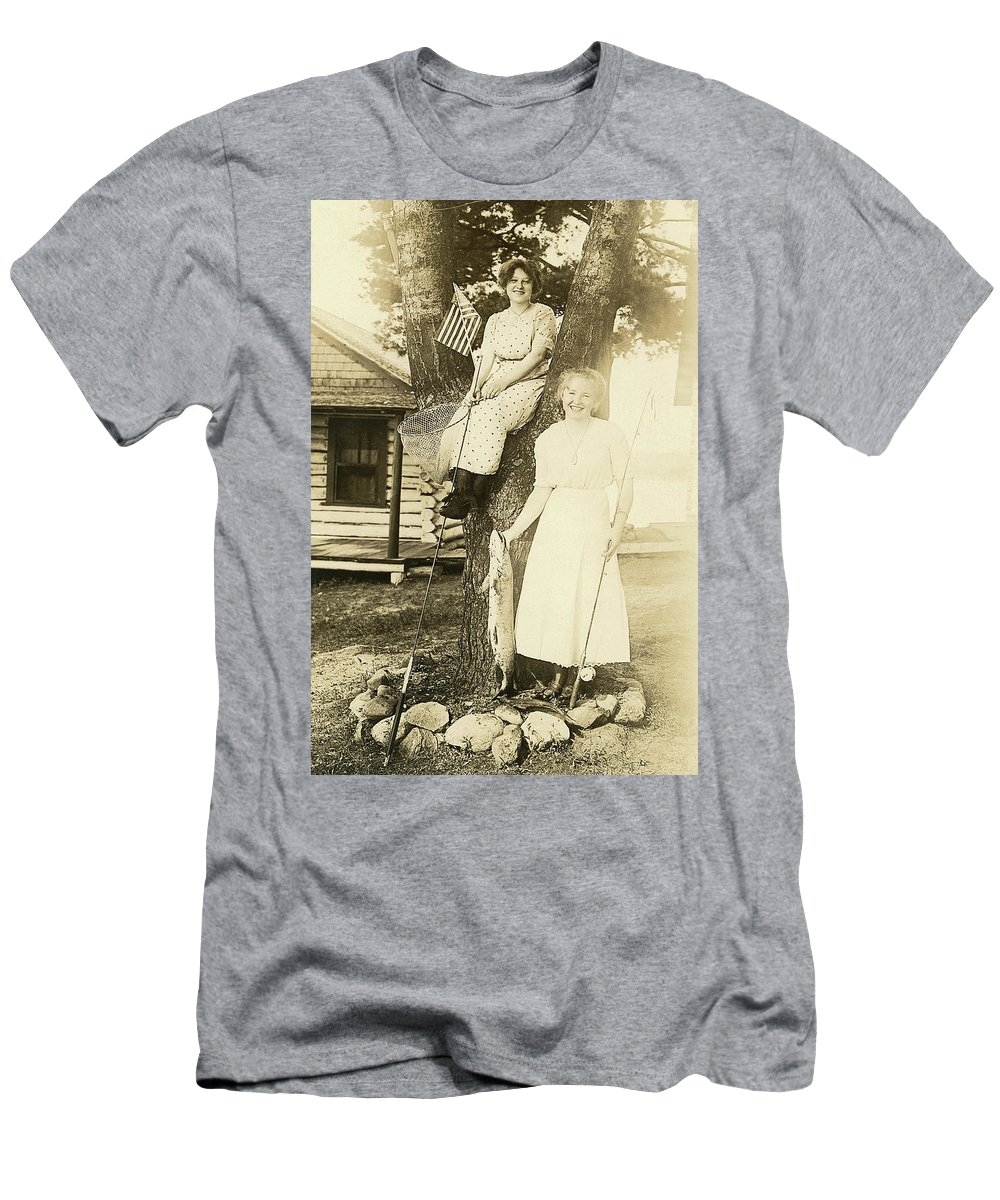 Women Fishing Men's T-Shirt (Athletic Fit) featuring the photograph America The Beautiful by Jayson Tuntland