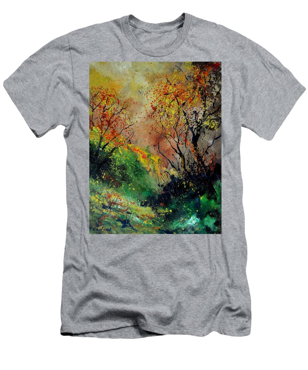 Landscape T-Shirt featuring the painting Autumn today by Pol Ledent