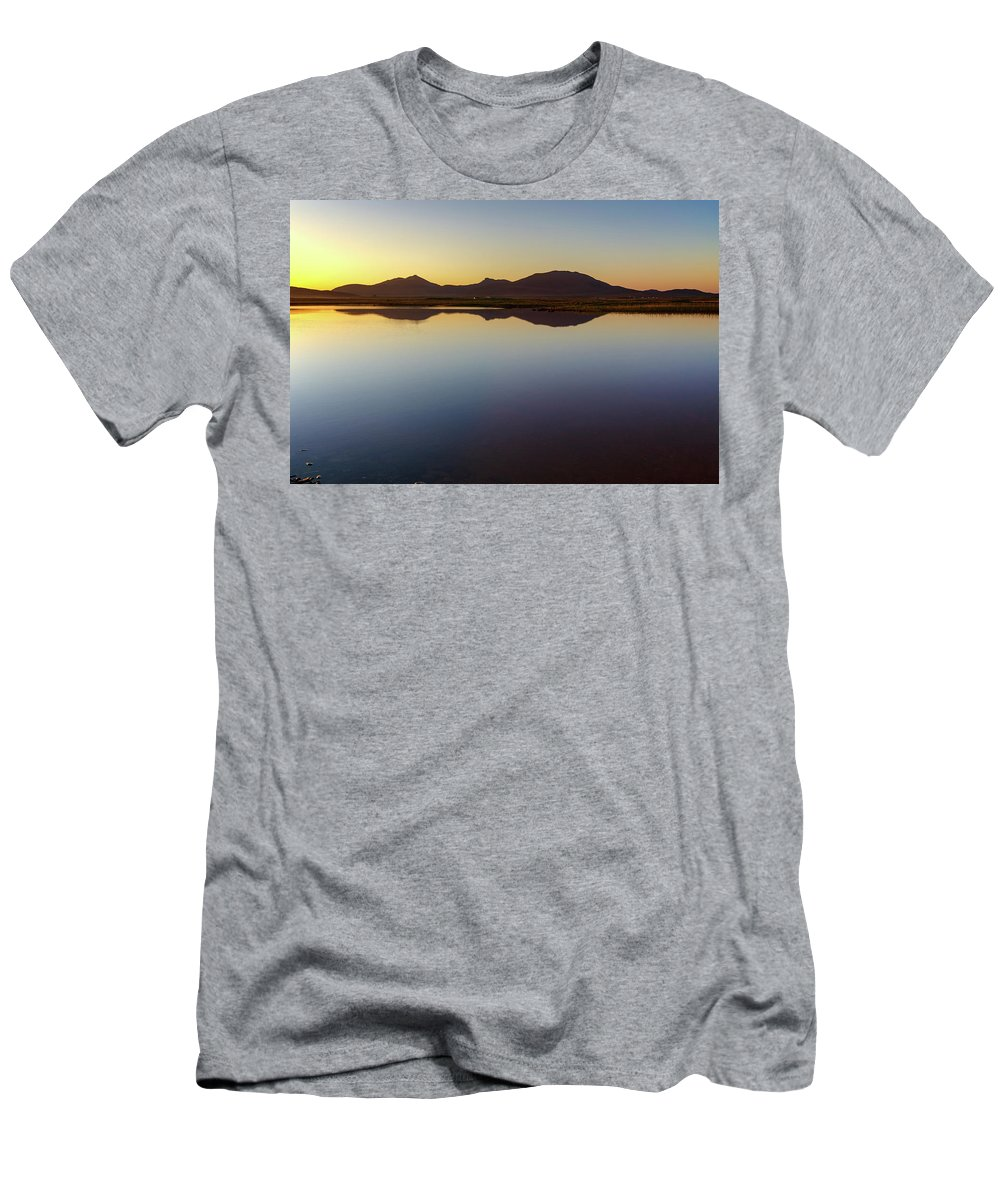 Benbecula Men's T-Shirt (Athletic Fit) featuring the mixed media Bagh Nam Faoileann by Smart Aviation