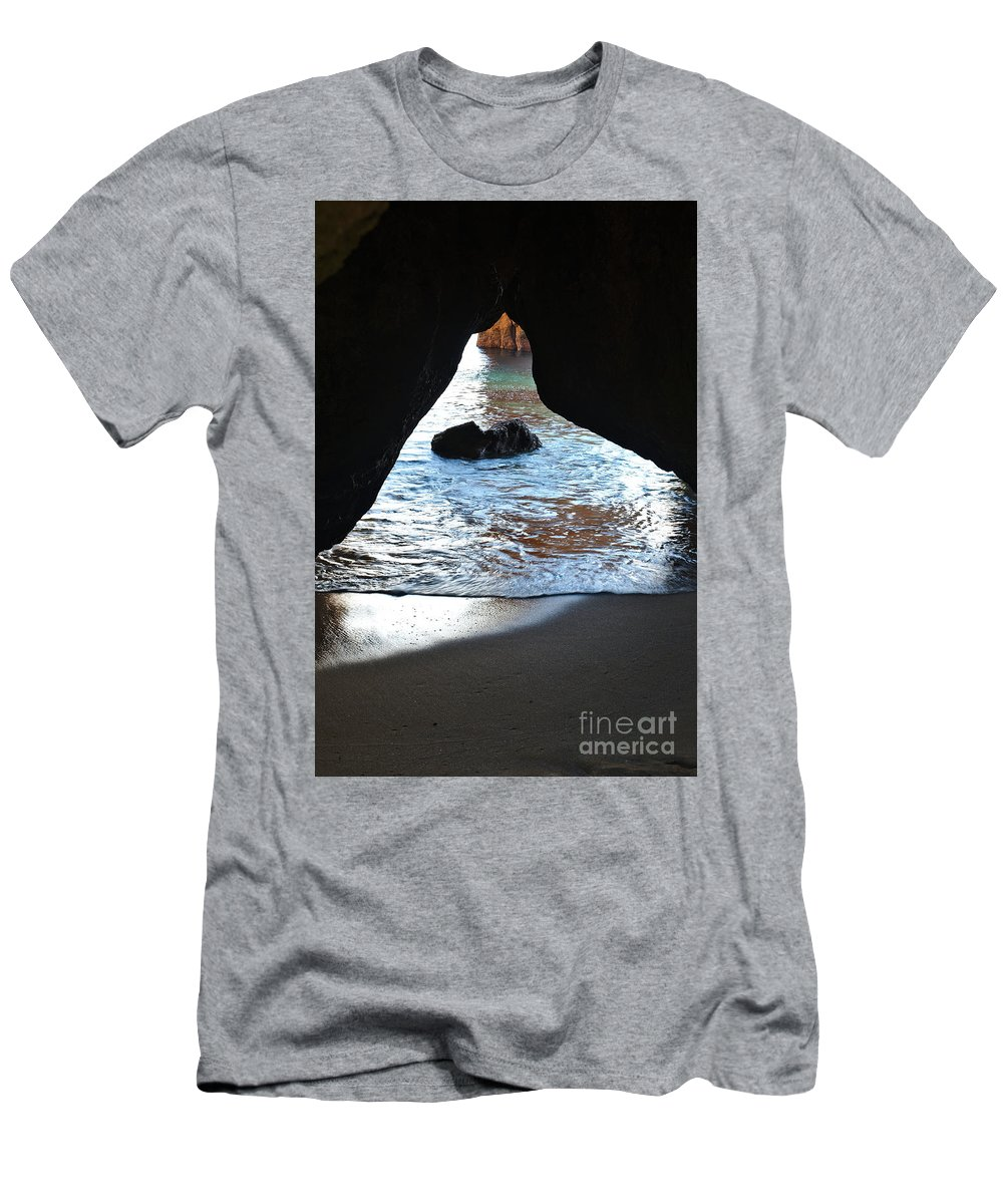 Cliff Men's T-Shirt (Athletic Fit) featuring the photograph Beach Cave by Angelo DeVal