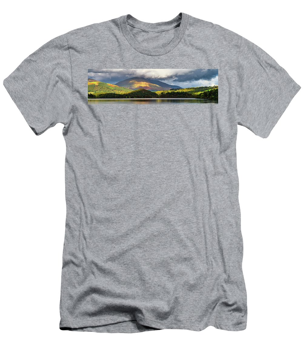Blencathra Men's T-Shirt (Athletic Fit) featuring the photograph Blencathra Autumn Panorama by John Collier