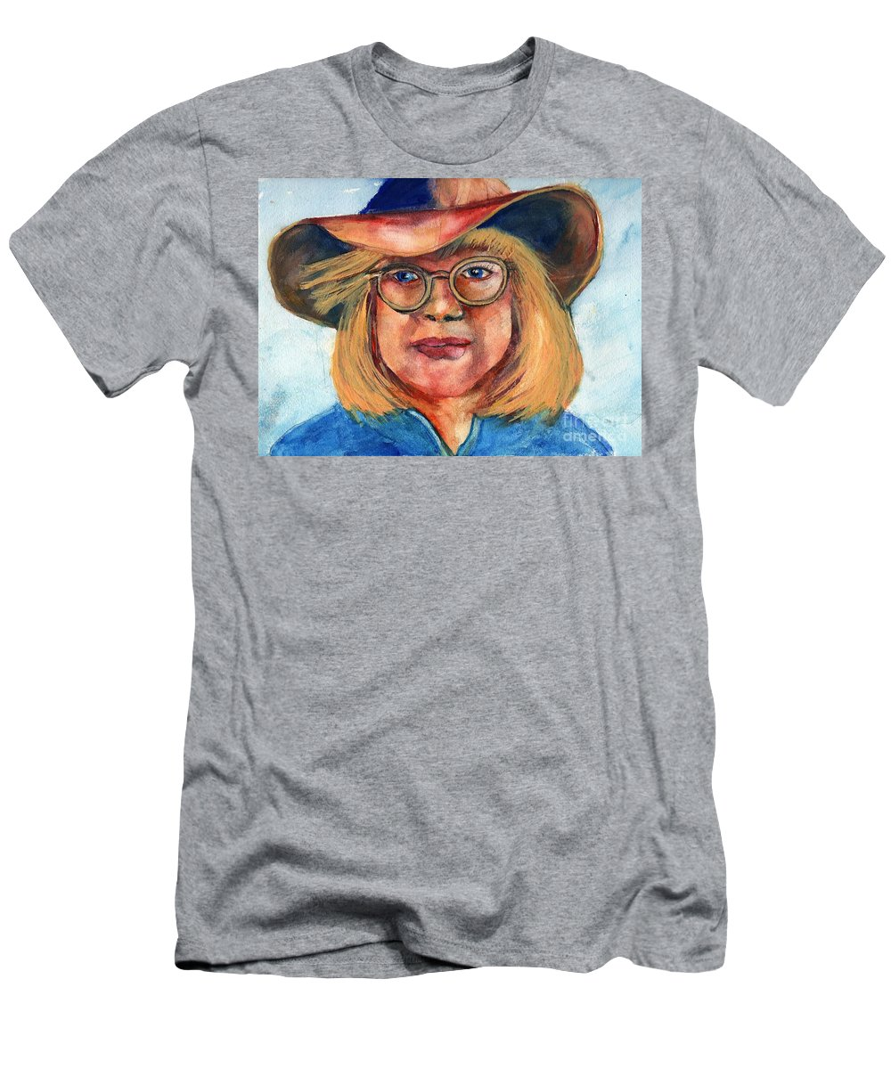 Cow Girl T-Shirt featuring the painting Blue Jean Lady by Randy Sprout