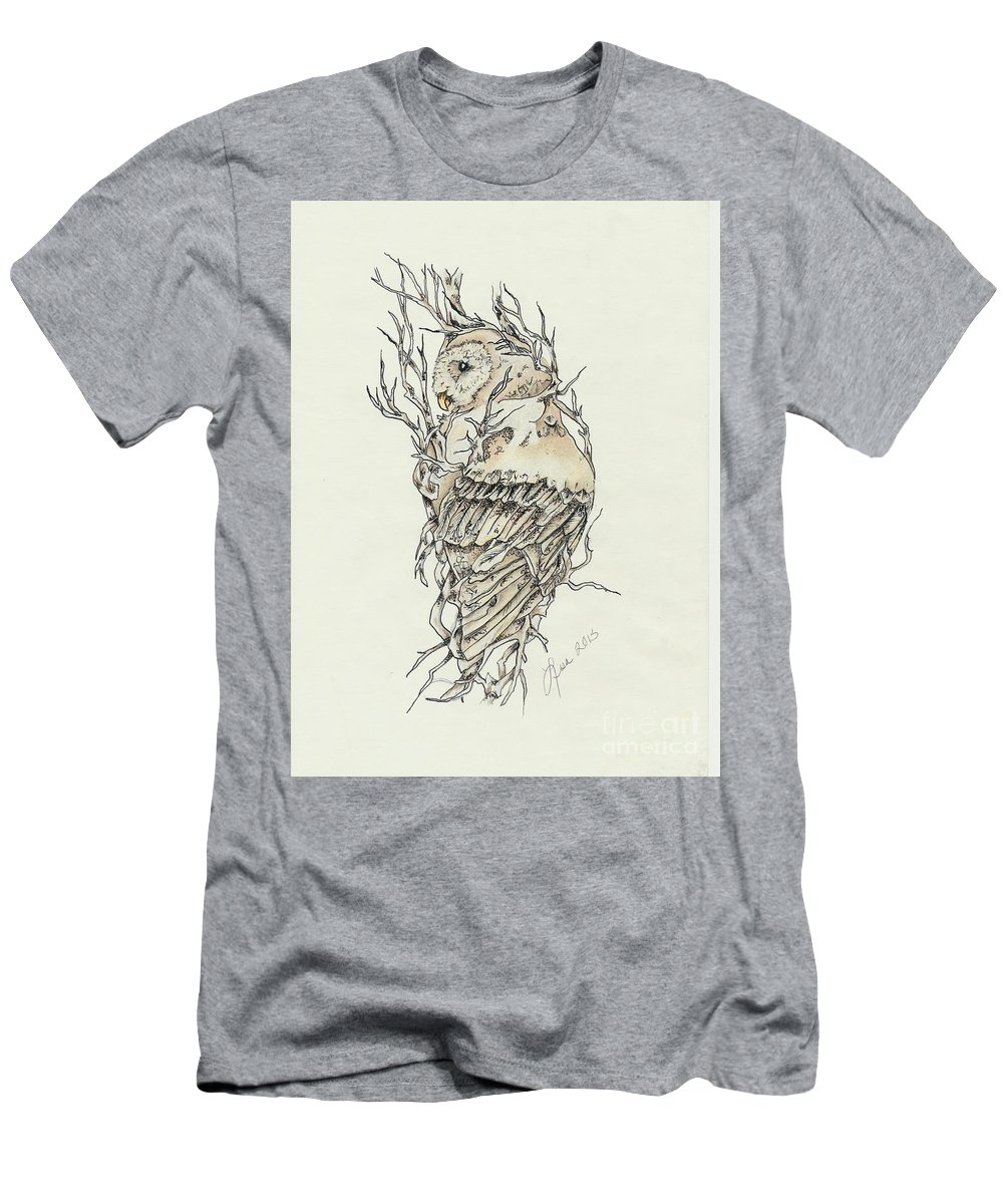 Owl Men's T-Shirt (Athletic Fit) featuring the mixed media Branching Out by Lisa Johnson