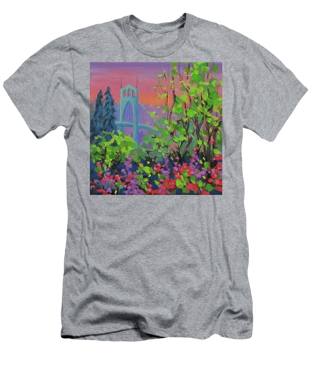 Bridge T-Shirt featuring the painting Bright Spring by Karen Ilari
