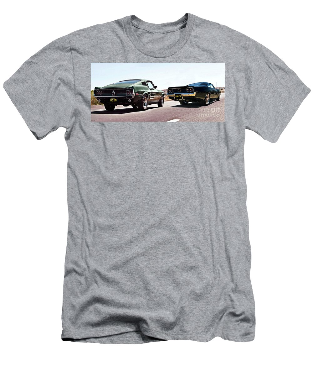 Bullitt T-Shirt featuring the mixed media Bullitt, Car Chase Scene, 1968 Ford Mustang Gt And Dodge Charger R T by Thomas Pollart