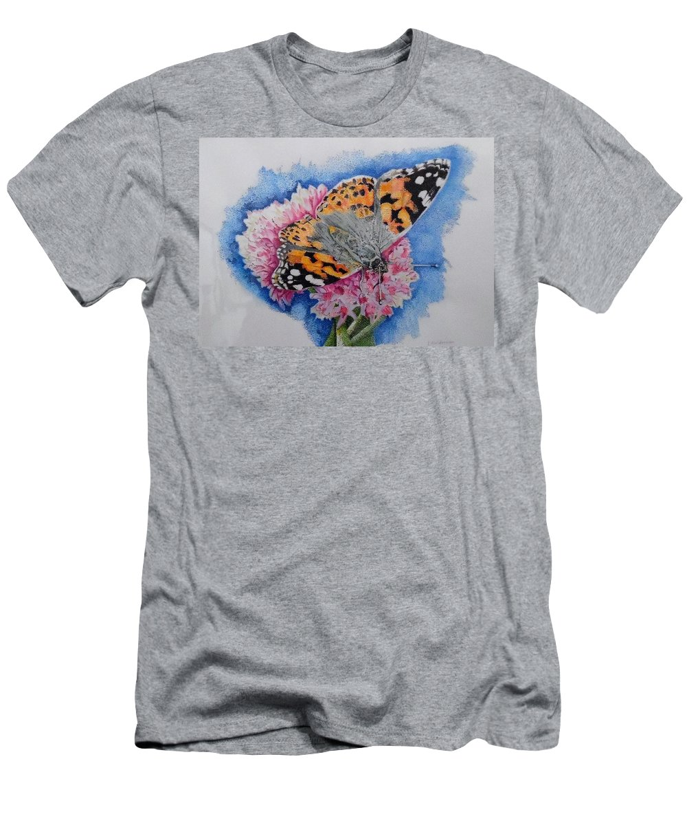 Colored Pencils Men's T-Shirt (Athletic Fit) featuring the drawing Butterfly At Lunch by ILona Halderman
