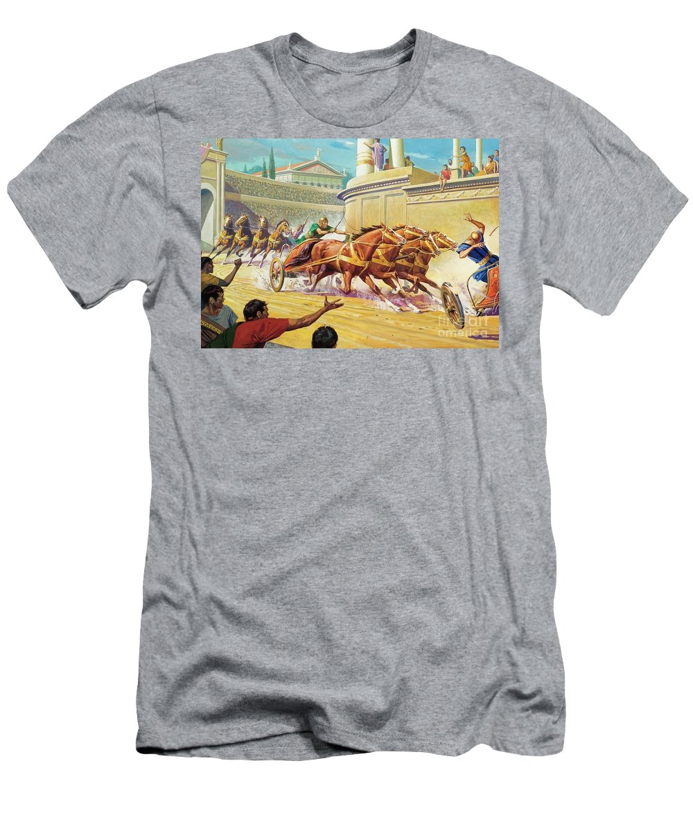 Chariot Race T-Shirt featuring the painting Chariot Race At The Circus Maximus by Severino Baraldi