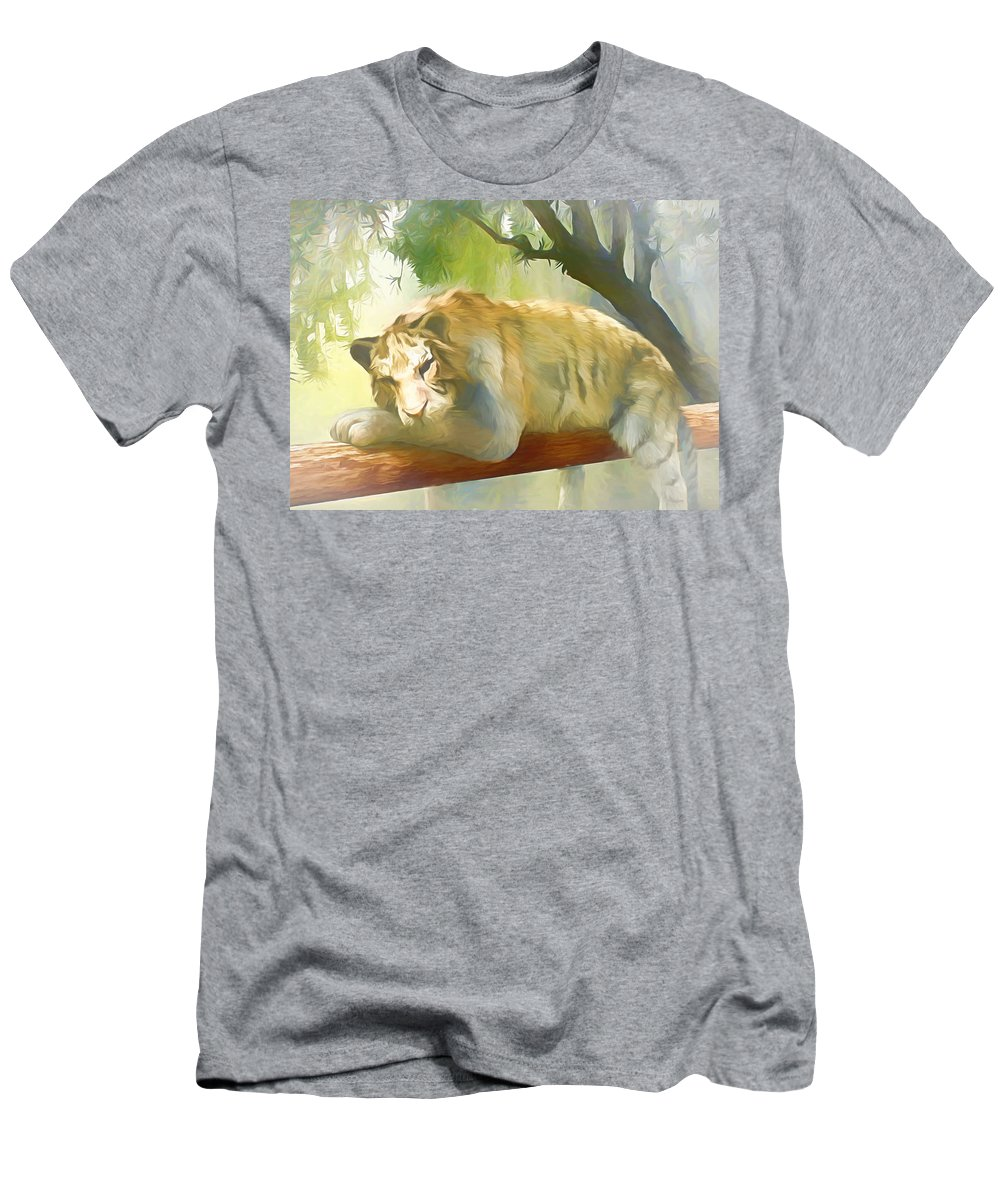 Wild T-Shirt featuring the digital art Chilling Tiger by Jasmina Seidl