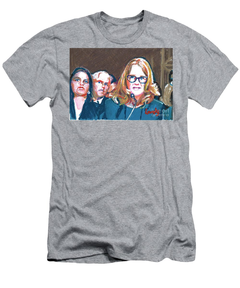 Christine Blasey Ford Testifies Before Senate Men's T-Shirt (Athletic Fit) featuring the painting Christine Blasey Ford Testifies Before Senate by Candace Lovely
