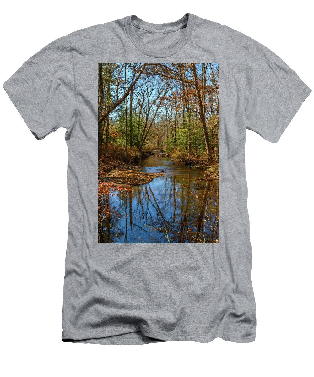 Reflections Men's T-Shirt (Athletic Fit) featuring the photograph Clear Path by Cindy Lark Hartman