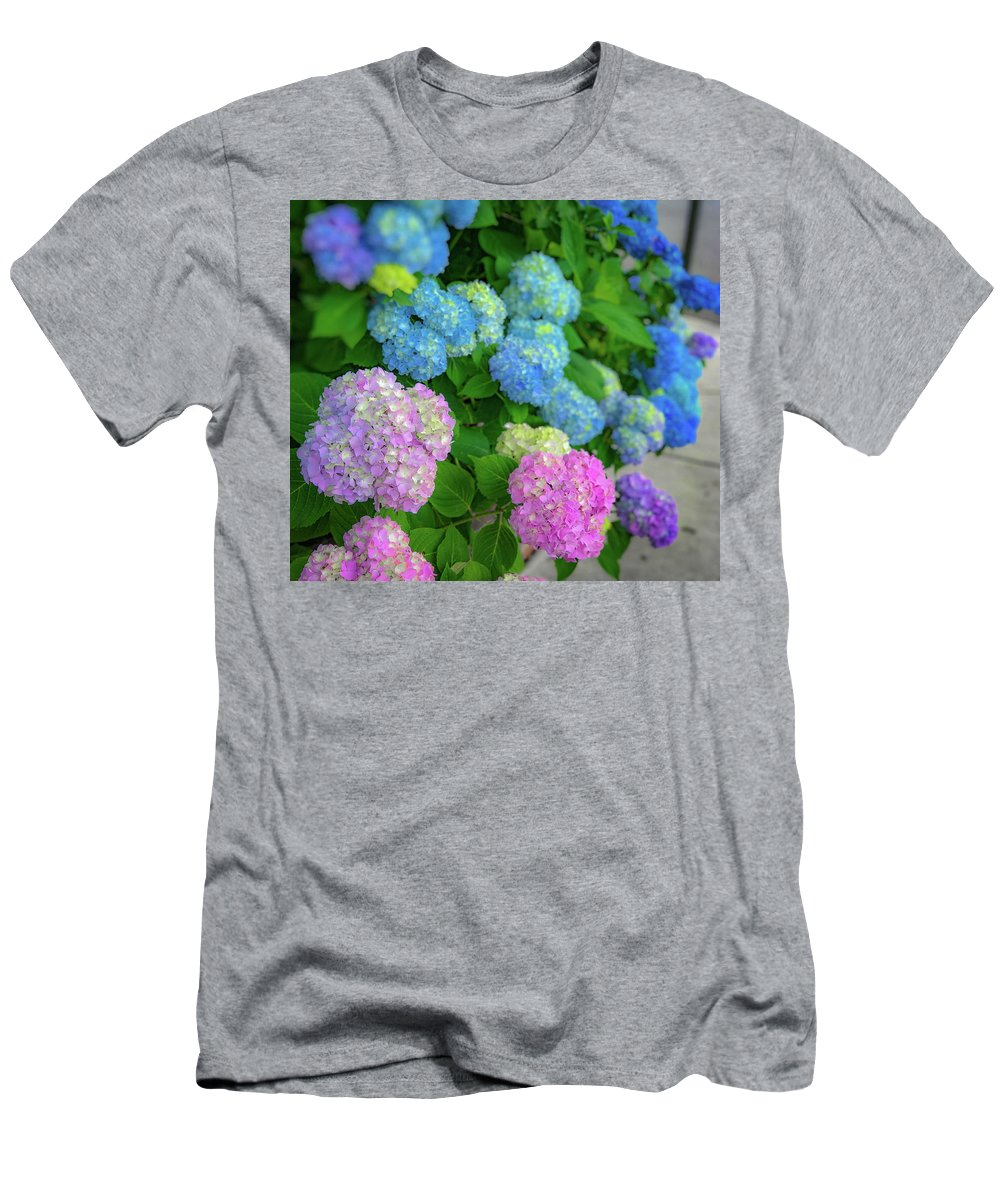 Hydrangeas Men's T-Shirt (Athletic Fit) featuring the photograph Colorful Hydrangeas by Lora J Wilson