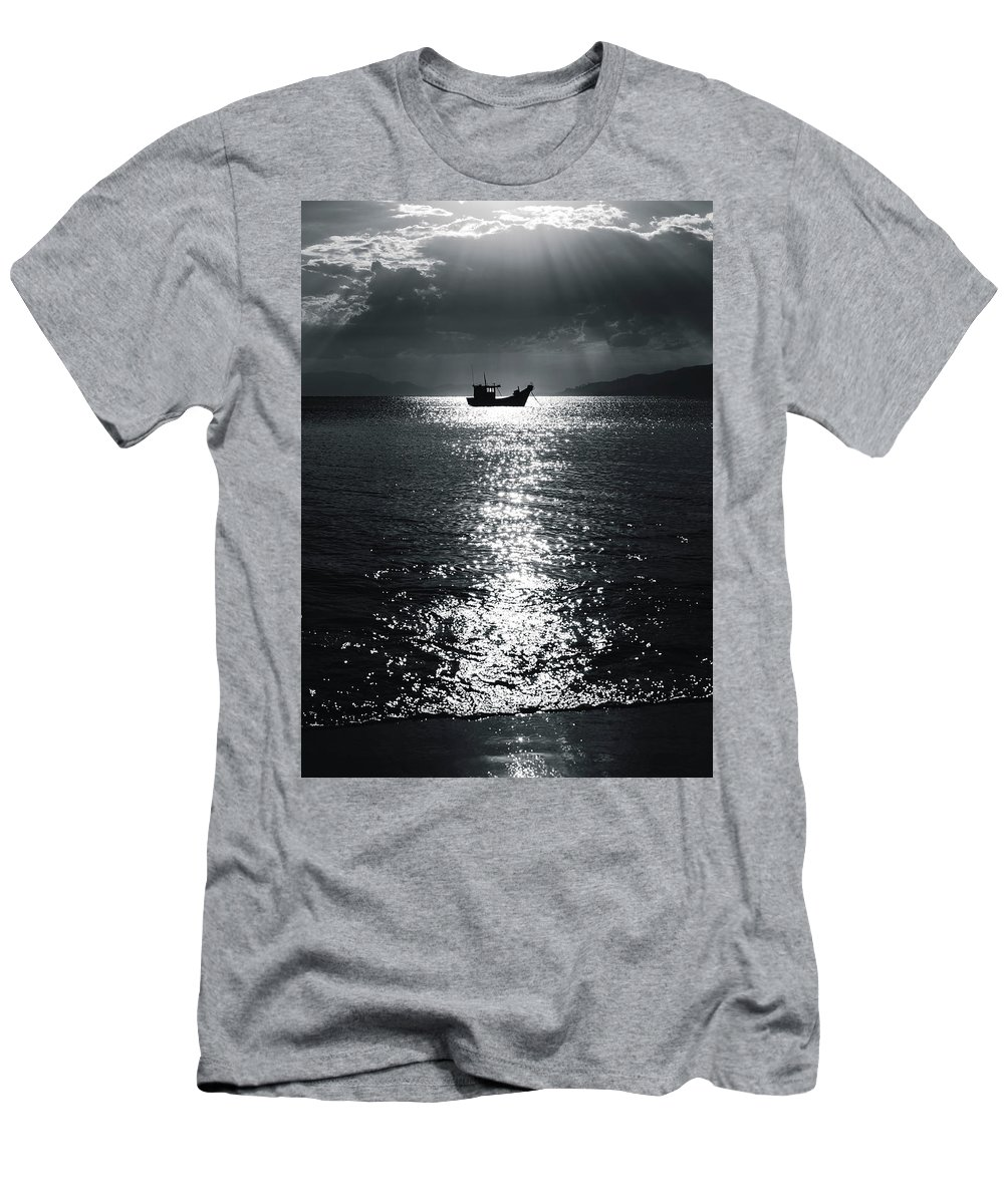 Boat Men's T-Shirt (Athletic Fit) featuring the photograph Darken Boat by Walter Passos
