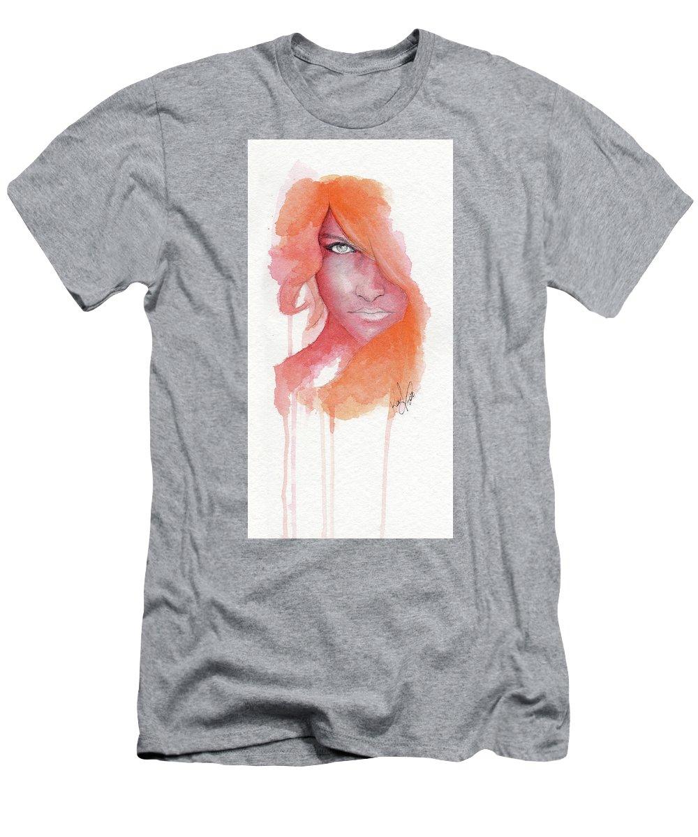 Face Men's T-Shirt (Athletic Fit) featuring the painting Deep Orange by Raffaello Saverio Padelletti
