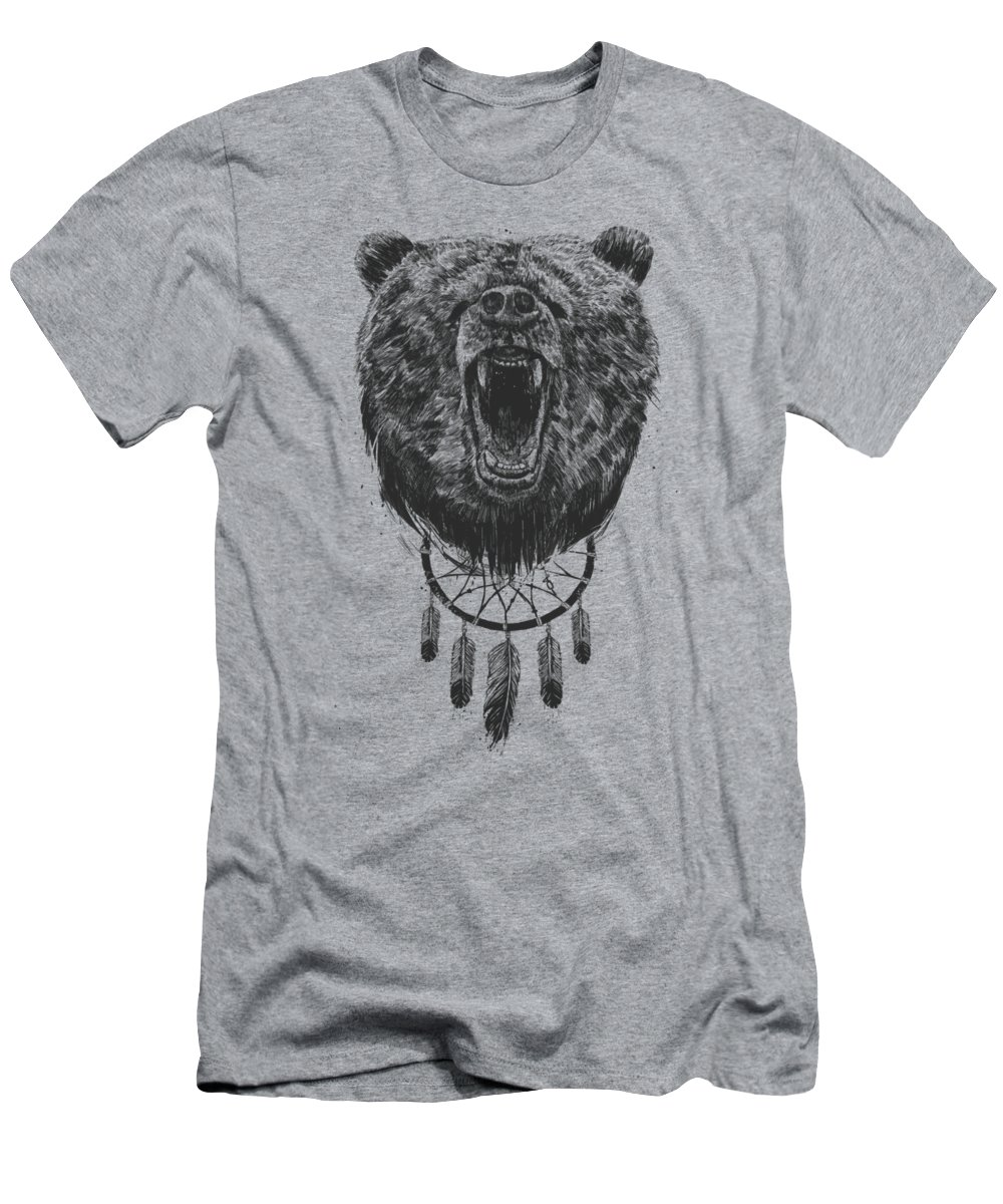 Bear T-Shirt featuring the drawing Don't wake the bear by Balazs Solti