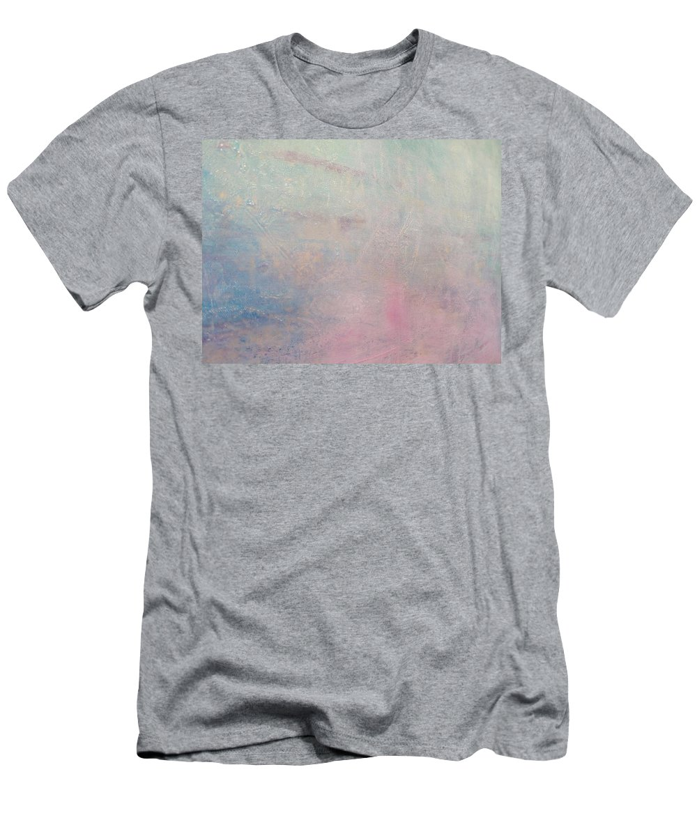 Landscape Soft Pink Blue Green Pastel Men's T-Shirt (Athletic Fit) featuring the painting Dreaming Of Spring by A Bacia