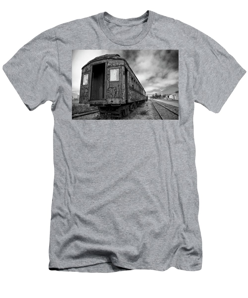 Black Men's T-Shirt (Athletic Fit) featuring the digital art End Of The Line Bw by Brian Corbett