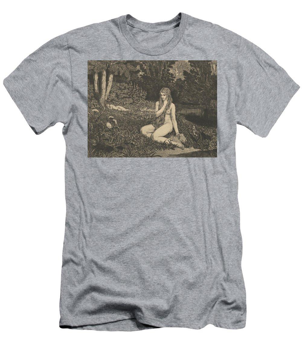 19th Century Art Men's T-Shirt (Athletic Fit) featuring the relief Eva From Eva Und Die Zukunft by Max Klinger