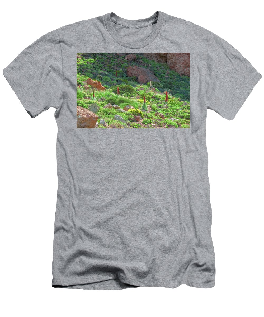 Echium Men's T-Shirt (Athletic Fit) featuring the photograph Field Of Echium Wildpretii In The Teide National Park by Sun Travels