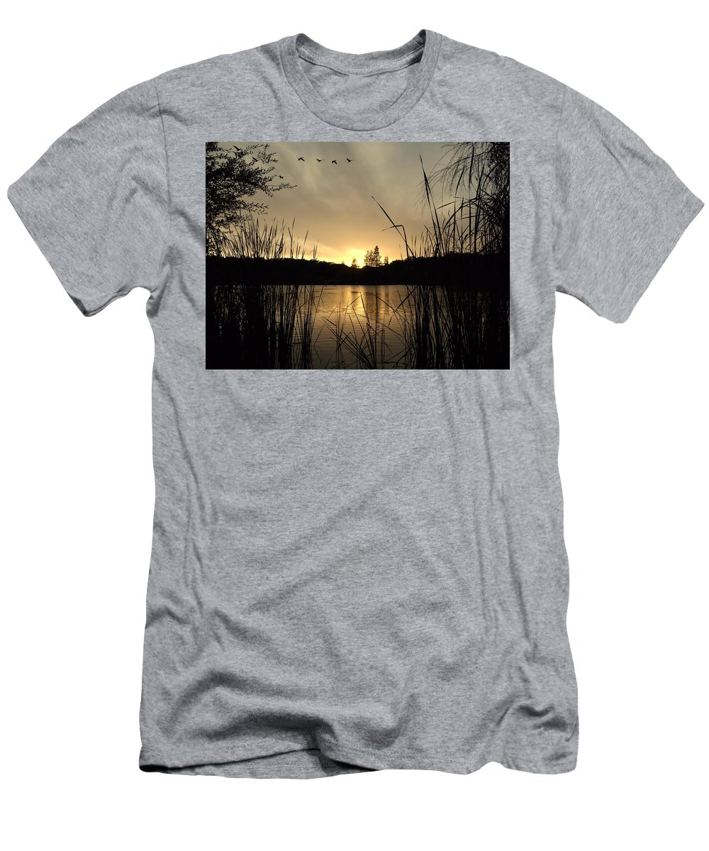 Landscape Men's T-Shirt (Athletic Fit) featuring the photograph Flying Through A Sunset by Richard Thomas