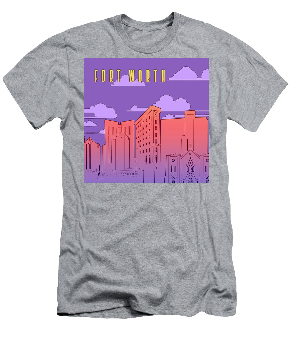 Fort Worth Men's T-Shirt (Athletic Fit) featuring the photograph Fort Worth Skyline Panorama Purple by Bekim Art