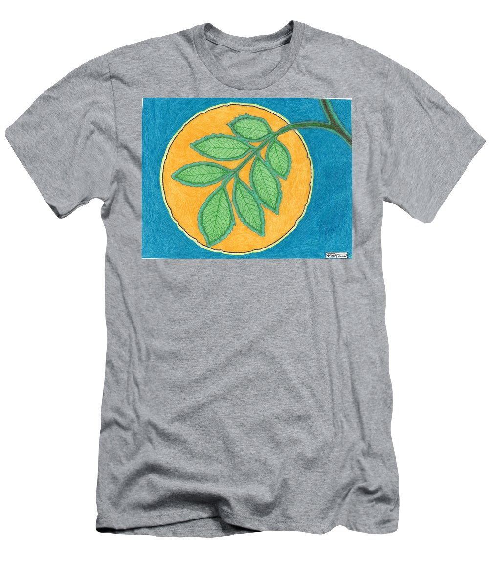 Moon Men's T-Shirt (Athletic Fit) featuring the painting Full Moon, Leaves by Joney Jackson