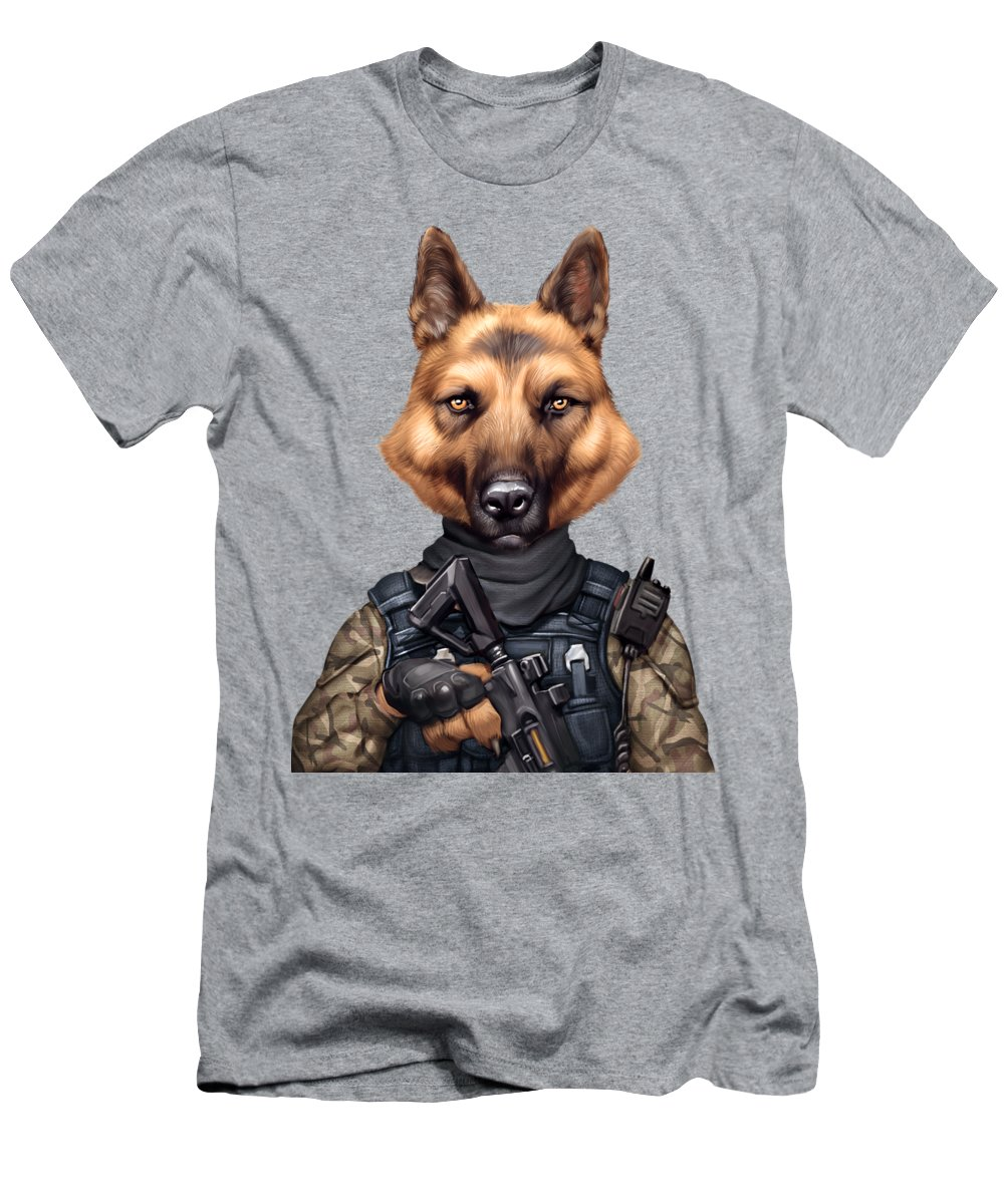 German Shepherd Shirts Men's T-Shirt (Athletic Fit) featuring the drawing Funny Cool German Shepherd Soldier Dog Wearing Army Military Clothes by Trendira Akkash