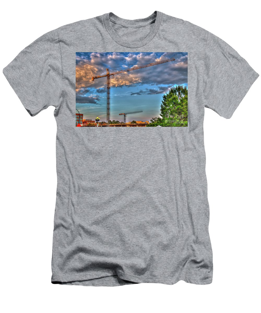 Reid Callaway Construction Tower Cranes Men's T-Shirt (Athletic Fit) featuring the photograph Going Up Greenville South Carolina Construction Cranes Building Art by Reid Callaway