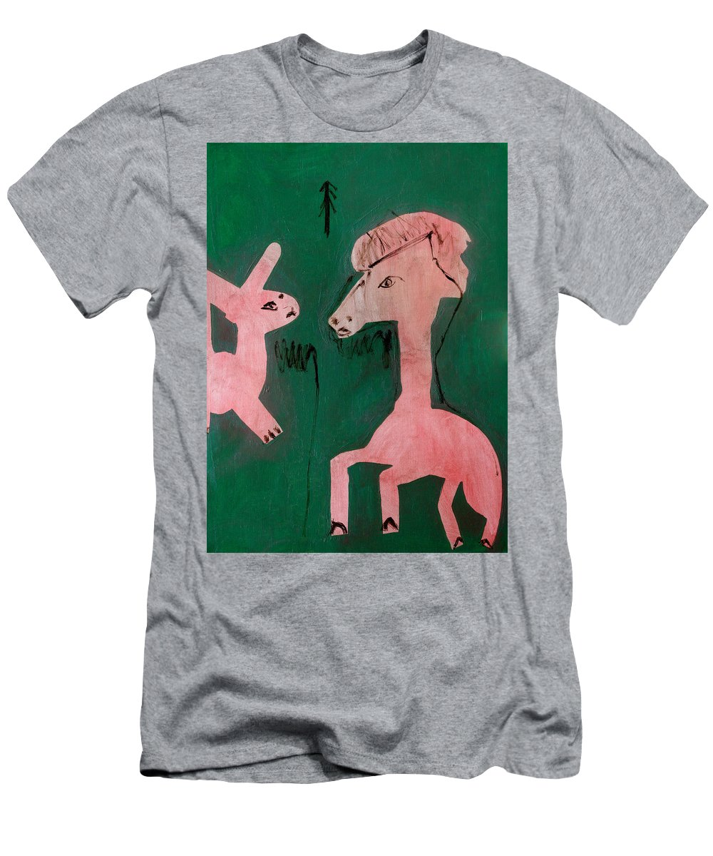 Green Men's T-Shirt (Athletic Fit) featuring the painting Horse And A Rabbit by Artist Dot