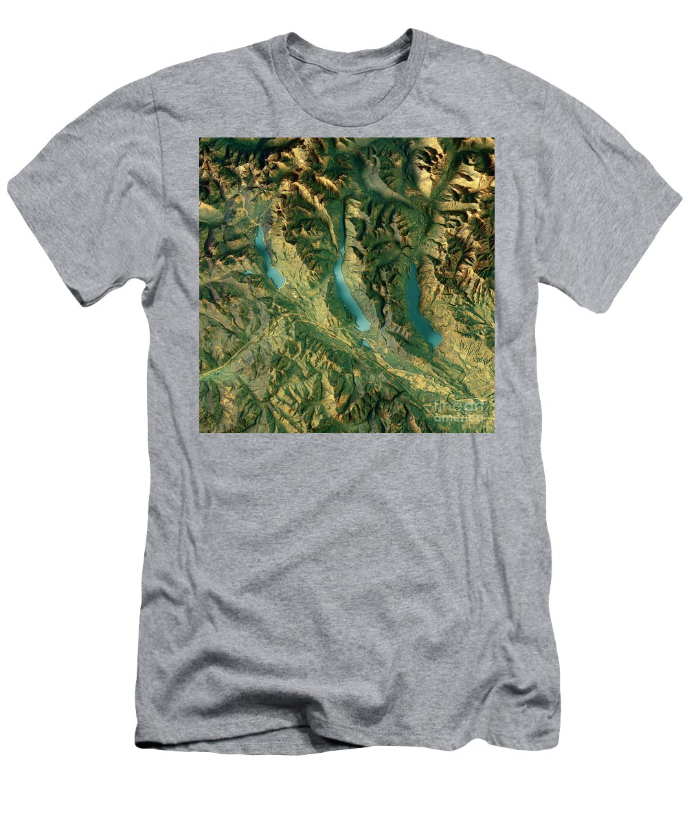 Kachess Lake T-Shirt featuring the digital art Kachess Lake 3d Render Topographic Map Color by Frank Ramspott