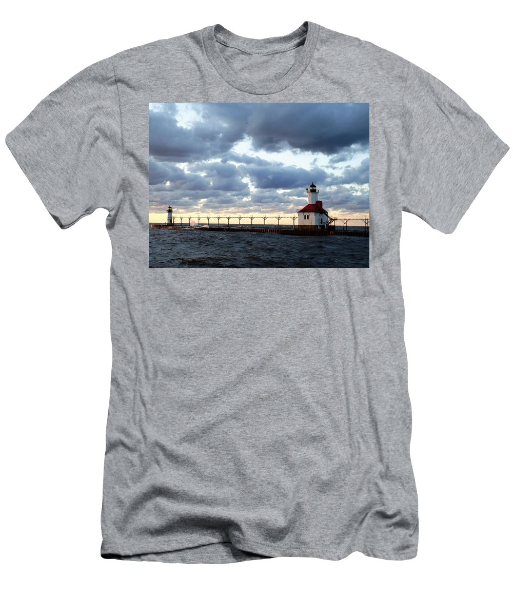 Water Men's T-Shirt (Athletic Fit) featuring the photograph Lake Michigan Lighthouse by Katherine Taibl