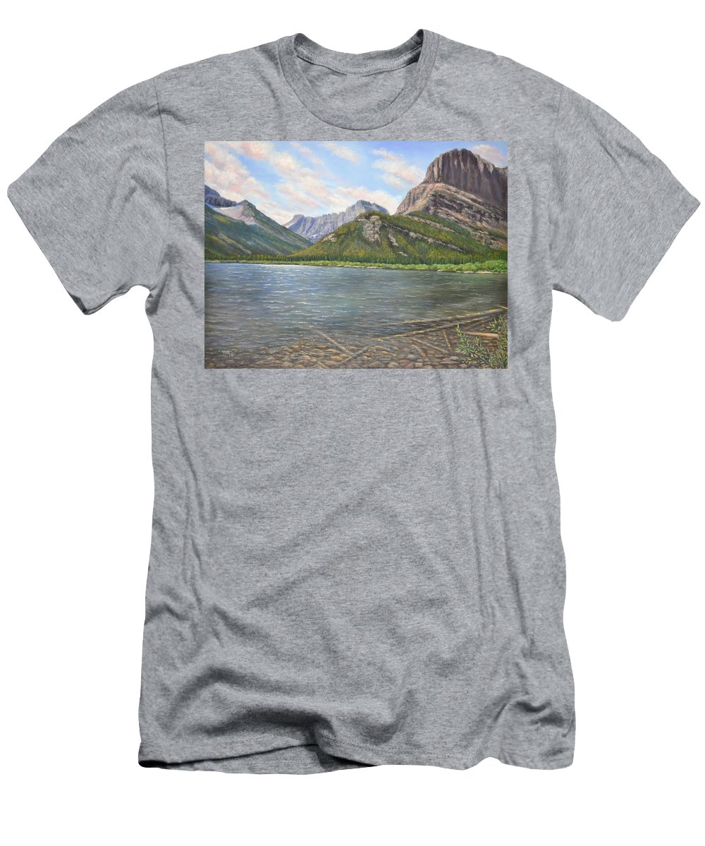 Mountains T-Shirt featuring the pastel Lake Shore View by Lee Tisch Bialczak