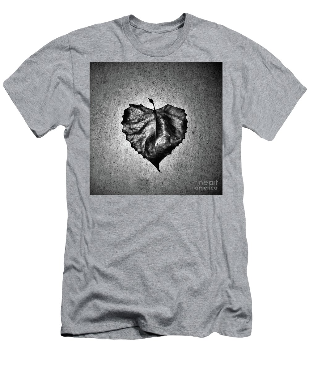 Black And White T-Shirt featuring the photograph Love Leaf Night by Andres Cavazos