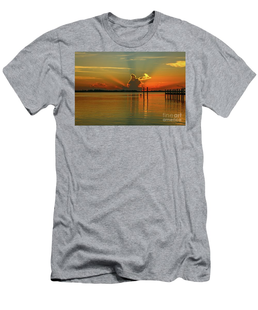 Sun Men's T-Shirt (Athletic Fit) featuring the photograph Low Flying Pelican Sunrise by Tom Claud