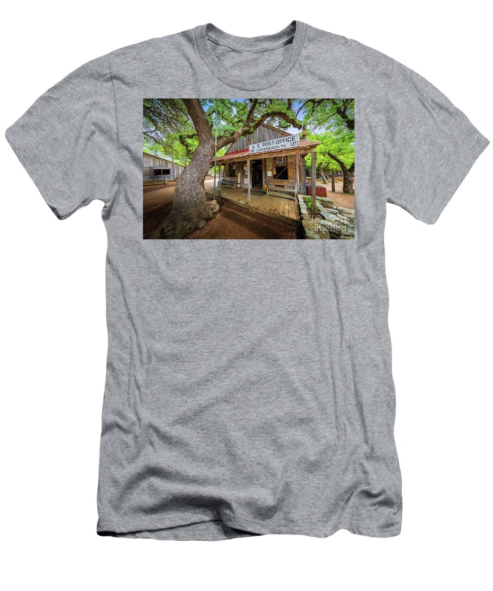 America Men's T-Shirt (Athletic Fit) featuring the photograph Luckenbach Town by Inge Johnsson