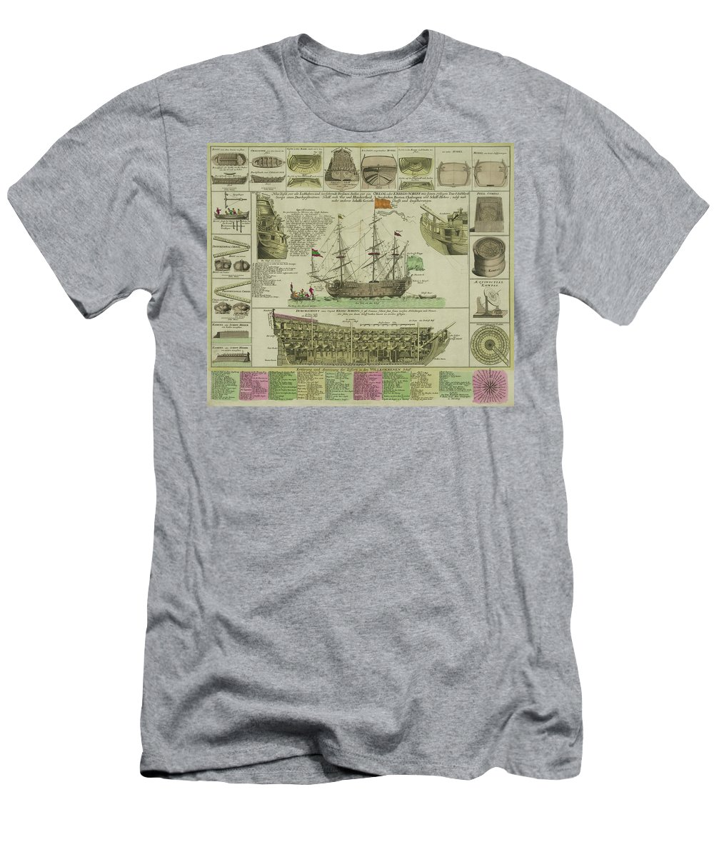 Ship Men's T-Shirt (Athletic Fit) featuring the photograph Man Of War Ship Diagram - German - 18th Century by Daniel Hagerman