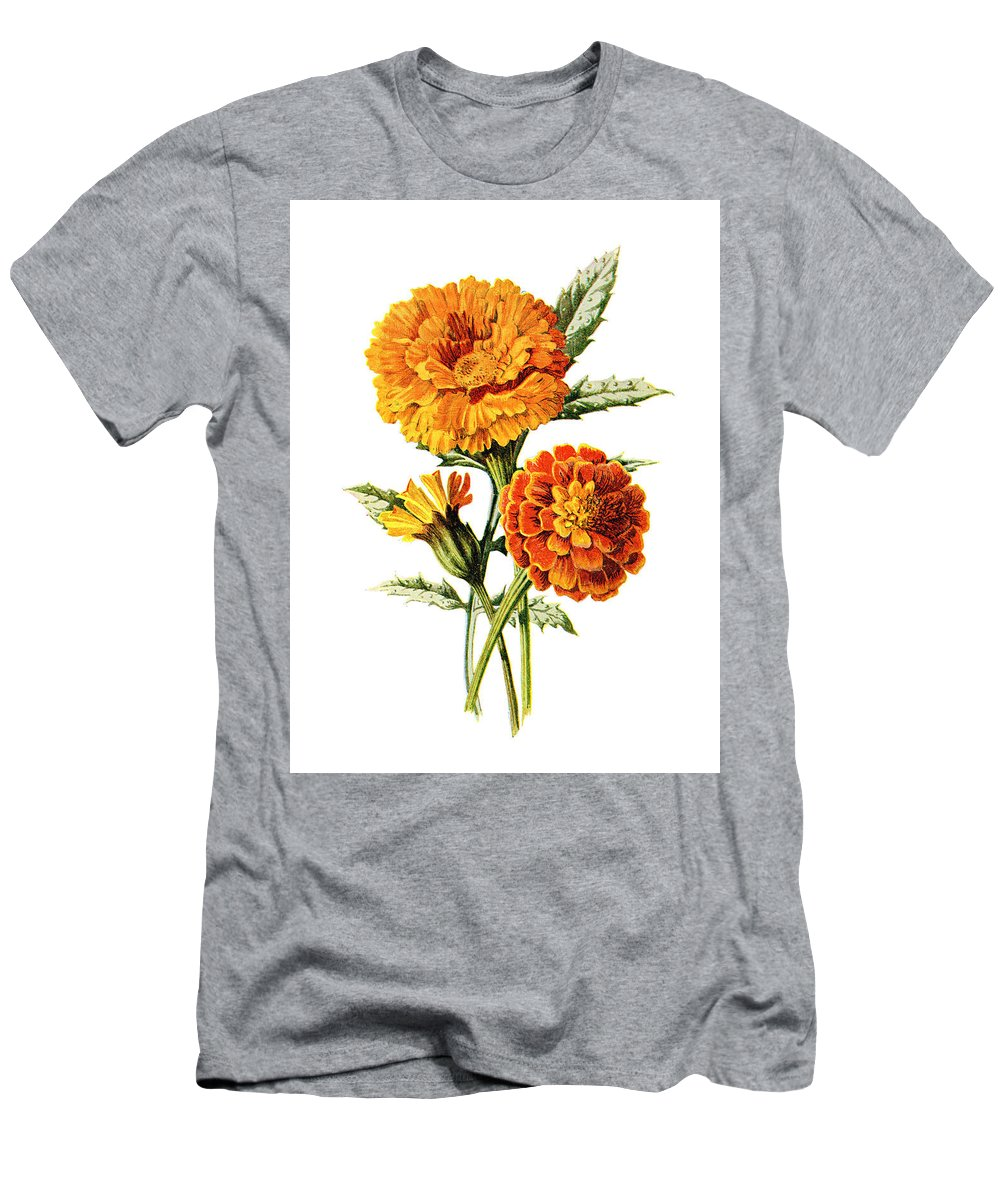 Jessamine Men's T-Shirt (Athletic Fit) featuring the mixed media Marigold Flower by Naxart Studio