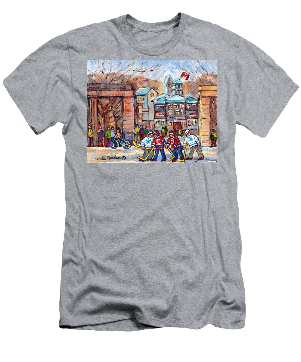 Montreal T-Shirt featuring the painting Mcgill University Roddick Gates Original Painting For Sale Hoockey Art C Spandau Canadian City Scene by Carole Spandau