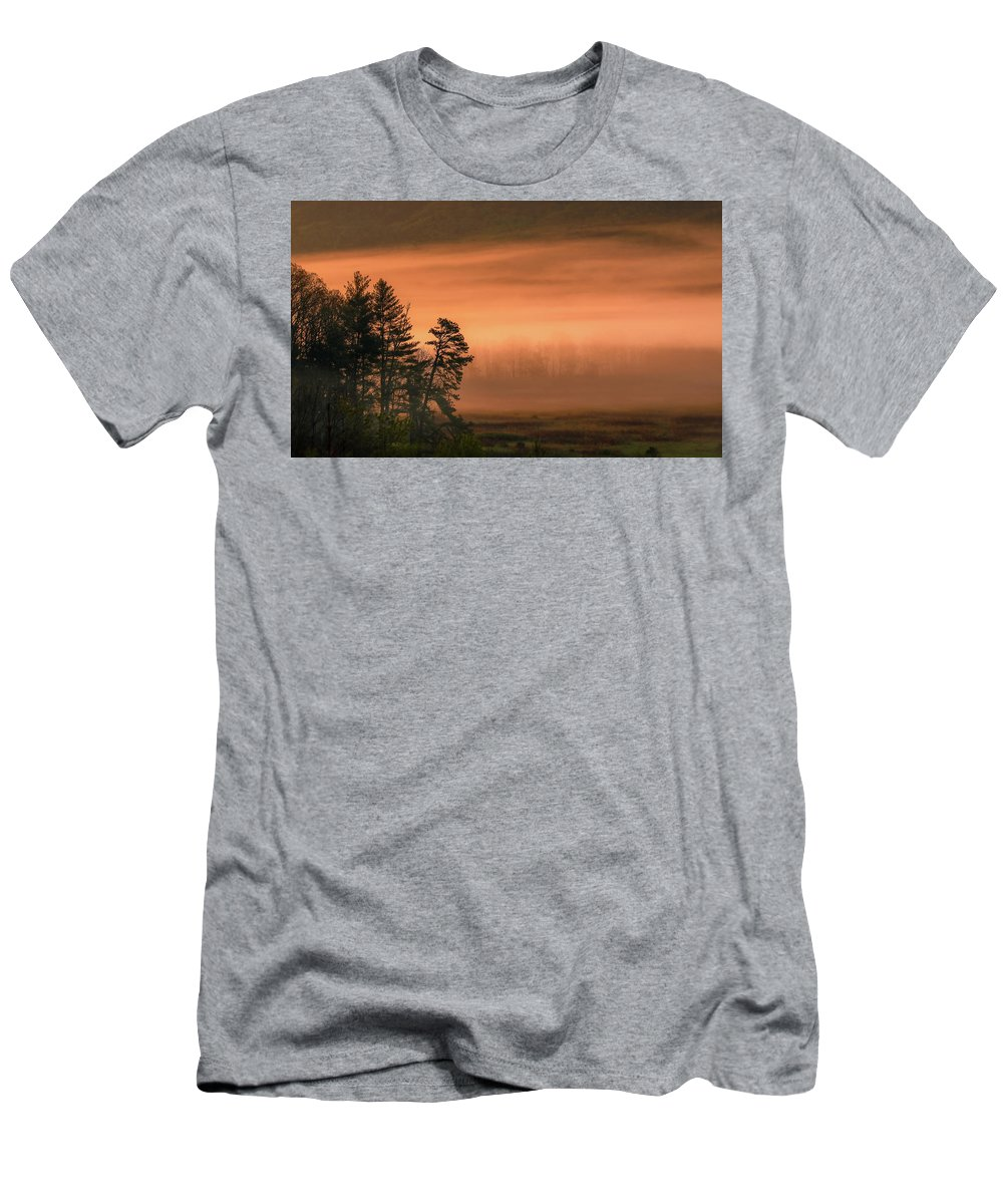 Moody Morning In The Cove Men's T-Shirt (Athletic Fit) featuring the photograph Moody Morning In The Cove by Dan Sproul