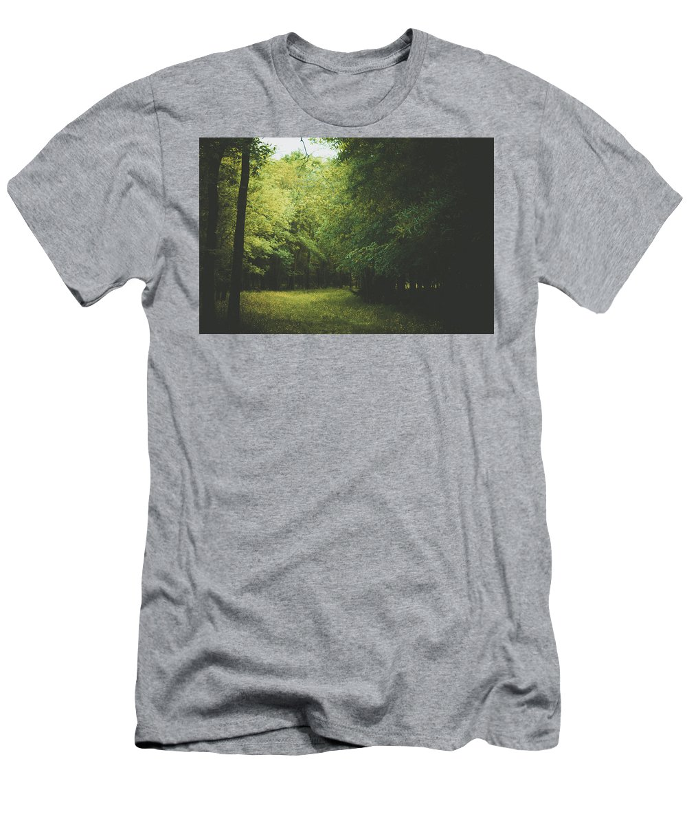 Woods Men's T-Shirt (Athletic Fit) featuring the photograph Moody Woods by Valerie Kingston
