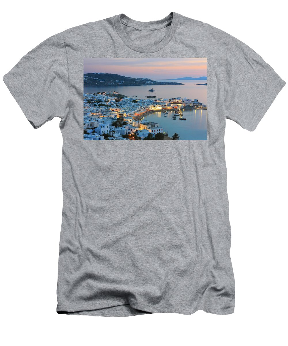 Aegean Men's T-Shirt (Athletic Fit) featuring the photograph Mykonos Town At Sunset Mykonos Cyclades Greece by Ivan Pendjakov