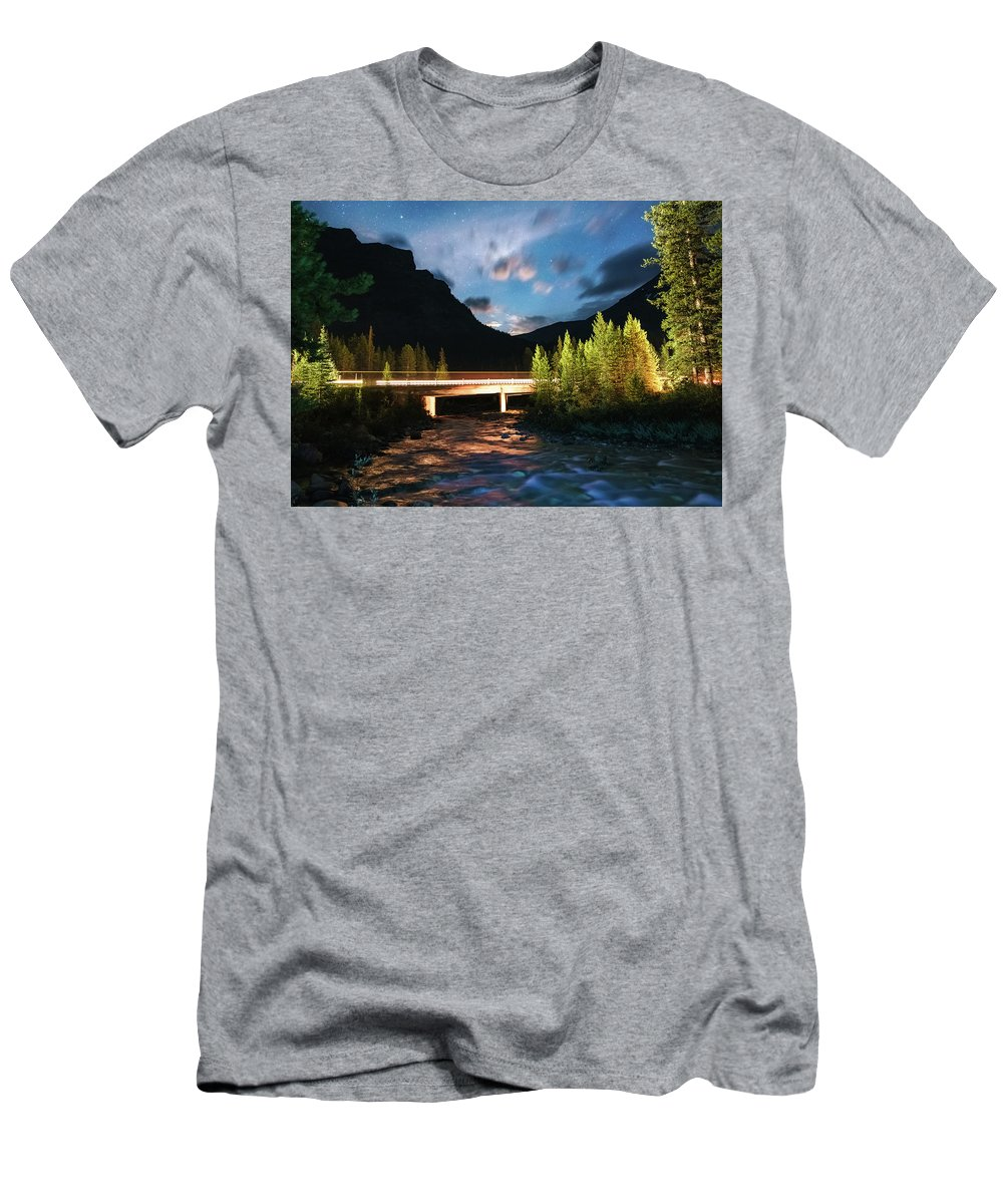 Landscape Men's T-Shirt (Athletic Fit) featuring the photograph Night Lights by Mogli Maureal