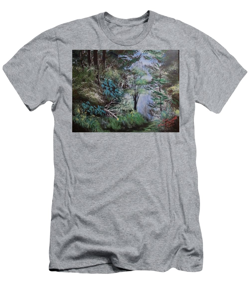 Landscape Men's T-Shirt (Athletic Fit) featuring the painting Path Thru The Woods by Ken Farnsworth