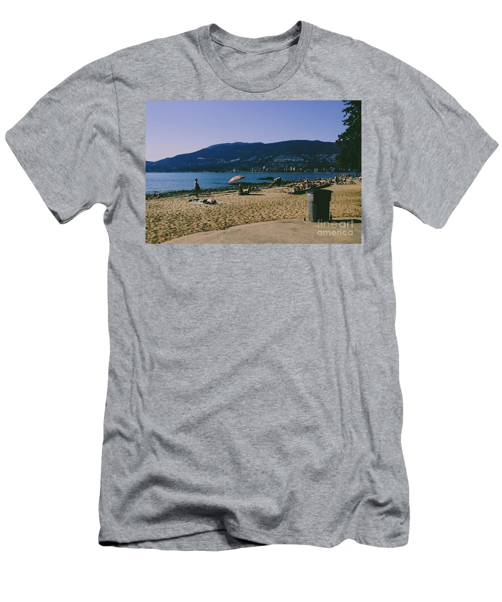 Sky Men's T-Shirt (Athletic Fit) featuring the photograph photograph of thid beach which is located in Stanley Park Vancouver. Third beach is a popular location for tourists and locals alike. by Kaleb Kroetsch
