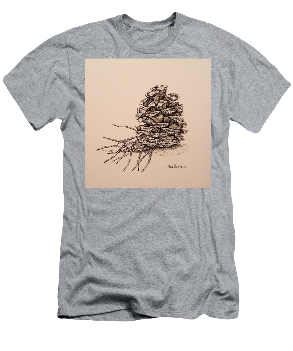 White Scratchboard Men's T-Shirt (Athletic Fit) featuring the drawing Pine Cone by ILona Halderman