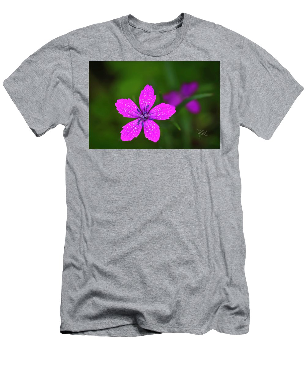 Macro Photography Men's T-Shirt (Athletic Fit) featuring the photograph Pink Flower by Meta Gatschenberger