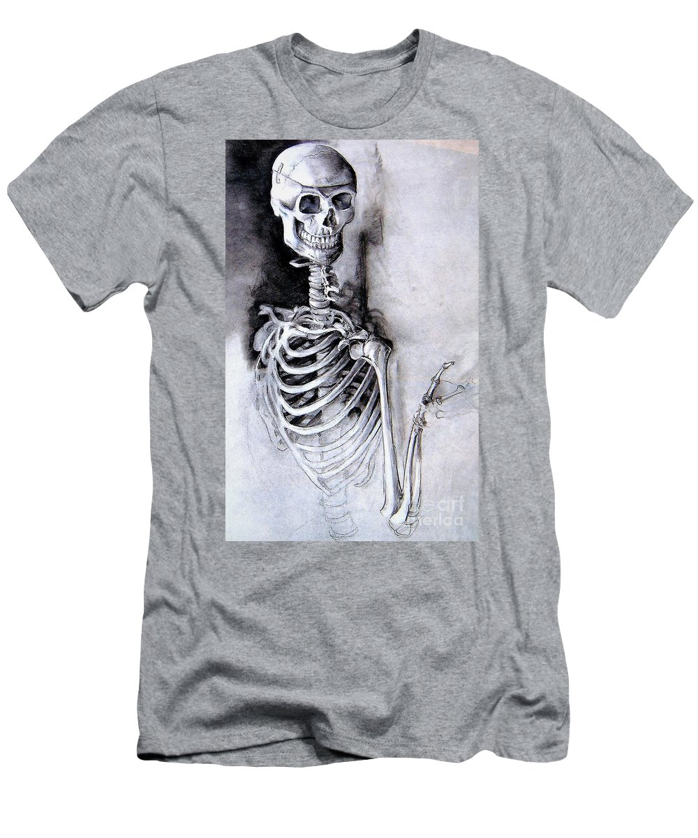 Skeleton Men's T-Shirt (Athletic Fit) featuring the pastel Portrait Of A Skeleton by Linda Shackelford