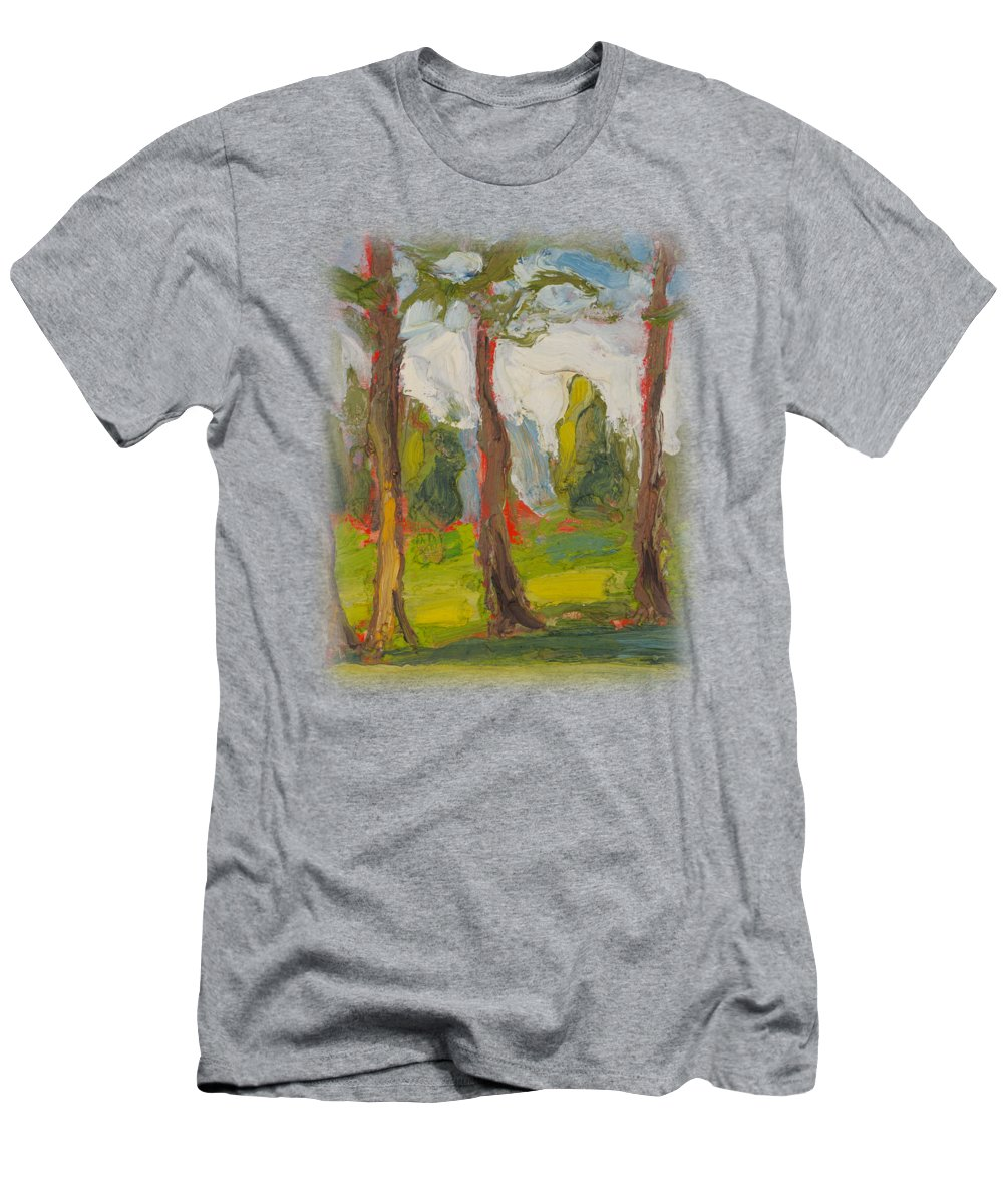 Landscape Men's T-Shirt (Athletic Fit) featuring the painting Primordial Forest by Michael Shipman