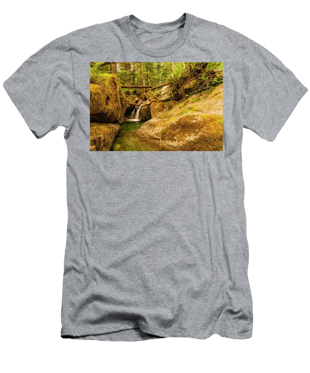 Waterfall Men's T-Shirt (Athletic Fit) featuring the photograph Quiet Falls by Joel Buhs
