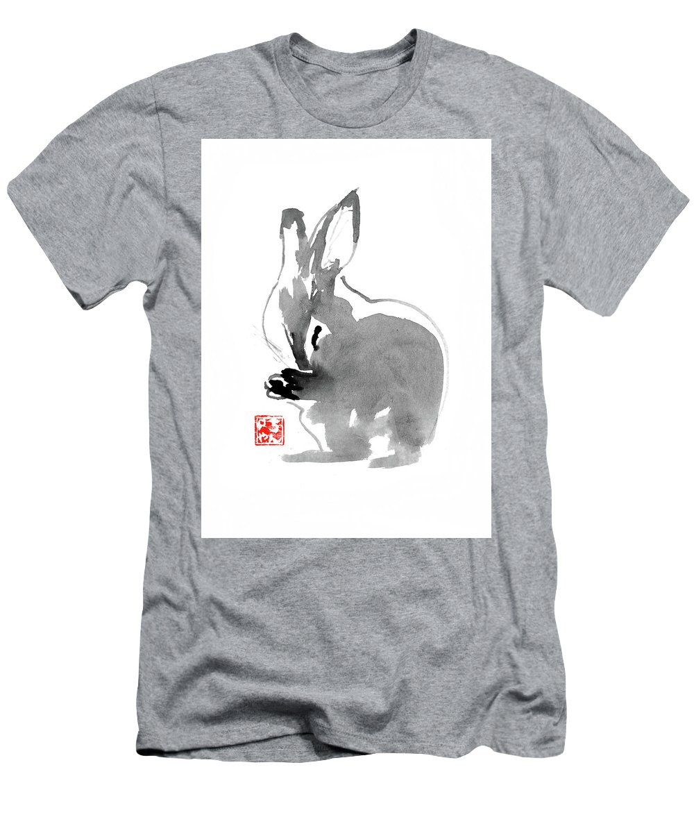 Rabbit Men's T-Shirt (Athletic Fit) featuring the painting Rabbit by Pechane Sumie